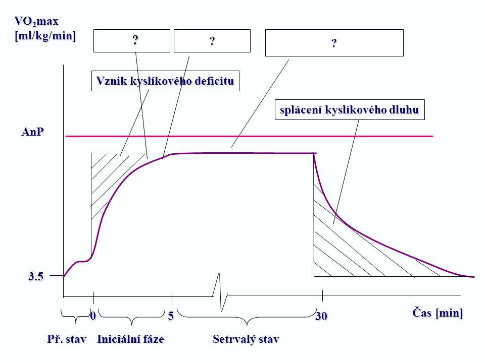 VO2max [ml/kg/min] Vznik kyslíkového deficitu
